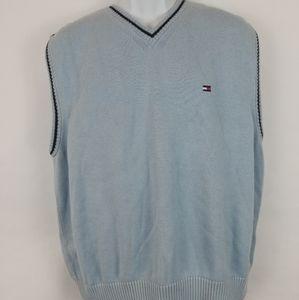 Tommy Hilfiger Mens Blue Vest Sweater Sz Large